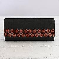 Embroidered clutch handbag, 'Exotic Onyx' - Onyx Black Clutch Handbag with Orange Embroidery