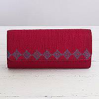 Embroidered clutch handbag, 'Ravishing Ruby' - Ruby Red Clutch Handbag Handmade in India