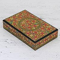 Decorative wood box, 'Valley of Flowers' - Hand Painted Decorative Kail Wood Box from India