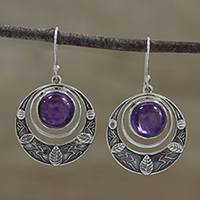 Amethyst dangle earrings, 'Leafy Crescents' - Amethyst Leaf Motif Dangle Earrings from India
