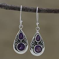 Amethyst dangle earrings, 'Complex Drops' - Drop-Shaped Amethyst Dangle Earrings from India