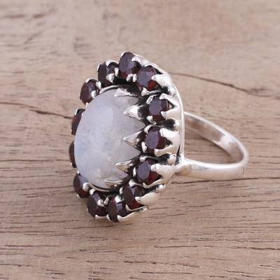 Garnet and Rainbow Moonstone Cocktail Ring from India