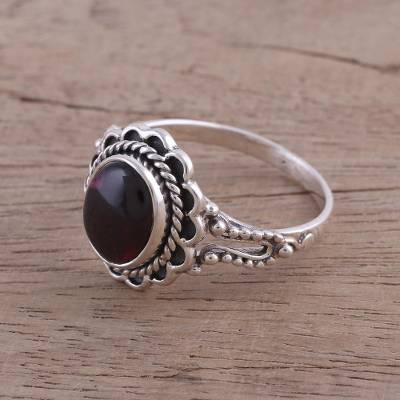 quality sterling silver rings review - Garnet and Sterling Silver Cocktail Ring from India