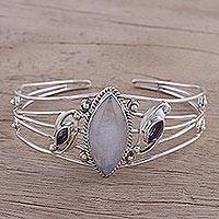 Rainbow moonstone and amethyst cuff bracelet, 'Feminine Glow' - Rainbow Moonstone and Amethyst Cuff Bracelet from India
