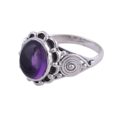 Amethyst cocktail ring, 'Purple Rapture' - Amethyst and Sterling Silver Cocktail Ring from India