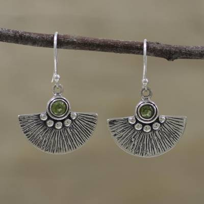 Peridot dangle earrings, 'Feathered Fans' - Peridot Fan-Shaped Dangle Earrings Handmade in India