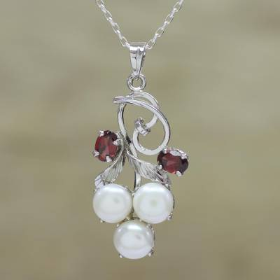Rhodium plated garnet and cultured pearl pendant necklace, 'Glamour in Purity' - Rhodium Plated Garnet and Pearl Necklace from India