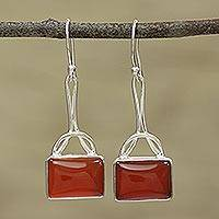 Onyx dangle earrings, 'Mystical Gaze in Red' - Red Onyx Rectangular Dangle Earrings from India