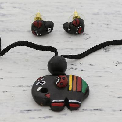 Ceramic jewelry set, 'Elephant Trio' - Handmade Elephant-Themed Ceramic Jewelry Set from India