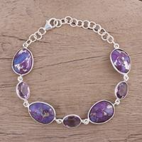 Sterling silver link bracelet, 'Gleaming Lilac' - Amethyst and Purple Turquoise Bracelet from India