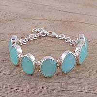 Chalcedony link bracelet, 'Sky Haven' - Chalcedony and Sterling Silver Link Bracelet from India