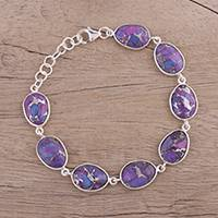 Sterling silver link bracelet, 'Regal Dream' - Sterling Silver and Purple Turquoise Bracelet from India