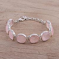 Rose quartz link bracelet,