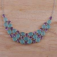 Amethyst and chalcedony pendant necklace, 'Regal Majesty' - Amethyst and Chalcedony Pendant Necklace from India