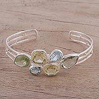 Multi-gemstone cuff bracelet, 'Glittering Charm' - Multi-Gemstone and Silver Cuff Bracelet from India