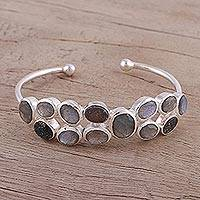 Labradorite and drusy cuff bracelet, 'Imperial Mystery' - Labradorite and Drusy Cuff Bracelet from India