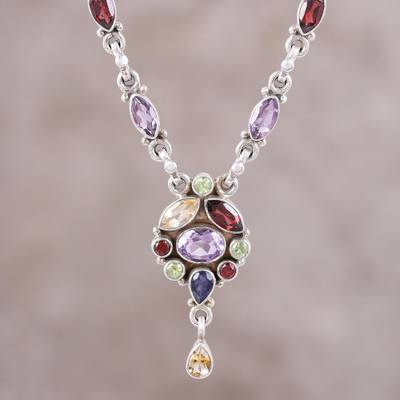 Multi-gemstone pendant necklace, 'Festive Glisten' - Multi-Gemstone Pendant Necklace from India