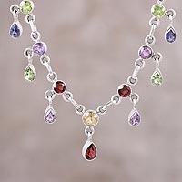 Multi-gemstone pendant necklace, 'Festive Drops' (India)