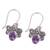 Amethyst dangle earrings, 'Busy Butterflies' - Amethyst Butterfly Dangle Earrings from India (image 2c) thumbail