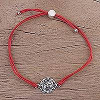 Sterling silver pendant bracelet, 'Surya Blaze in Red' - Adjustable Sterling Silver Sun Pendant Bracelet from India