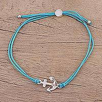 Sterling silver pendant bracelet, 'Anchor of Hope in Turquoise' - Adjustable Sterling Silver Anchor Bracelet from India
