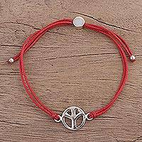 Sterling silver pendant bracelet, 'Peaceful Gleam in Red' - Adjustable Sterling Silver Peace Pendant Bracelet from India
