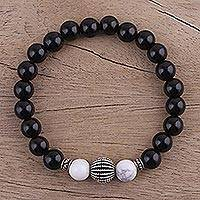 Onyx and howlite beaded stretch bracelet, 'Dark Berries' - Onyx and Howlite Beaded Stretch Bracelet from India