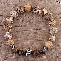 Jasper and tiger's eye beaded stretch bracelet, 'Flavors of the Earth' - Jasper and Tiger's Eye Beaded Stretch Bracelet from India