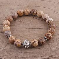 Jasper beaded stretch bracelet, 'Earthy Delight' (India)