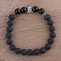 Onyx beaded stretch bracelet, 'Inner Nirvana' - Buddha-Themed Onyx Beaded Stretch Bracelet from India