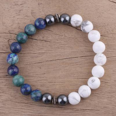 Chrysocolla and howlite beaded stretch bracelet, 'Majestic Haven' - Chrysocolla and Howlite Beaded Stretch Bracelet from India