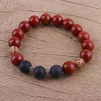 Jasper and onyx beaded stretch bracelet, 'Fiery Delight' - Multi-Gemstone Beaded Stretch Bracelet from India