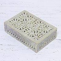 Jali soapstone decorative box, 'Hidden Fantasy' - Jali Openwork Soapstone Decorative Box from India
