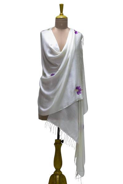 Silk blend shawl, 'Lush Lilies' - Hand Painted Silk Blend Purple Lily Shawl from India