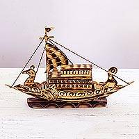 Bamboo decorative accent, 'Setting Sail' - Bamboo Ship Sculpture Hand Crafted in India