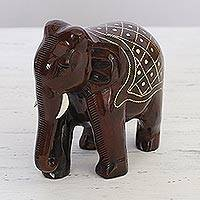 Wood figurine, 'Glorious Elephant' - High Polish Wood and Brass Inlay Elephant Figurine