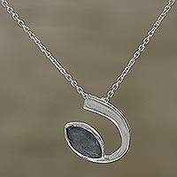 Labradorite pendant necklace, 'Silver Arc' - Labradorite and Sterling Silver Pendant Necklace