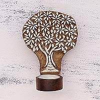 Wood tealight holder, 'Mango Tree' - Tree-Shaped Rohida Wood Tealight Holder from India