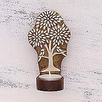 Wood tealight holder, 'Avian Home' - Rohida Wood Tealight Holder with Tree Design from India