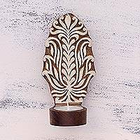 Wood tealight holder sconce, 'Ferny Delight' - Handcrafted Rohida Wood Tealight Sconce from India