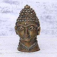 Brass sculpture, 'Dhokra Buddha' - Antiqued Brass Dhokra Buddha Sculpture from India