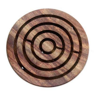 Handcrafted Acacia Wood Maze Game from India