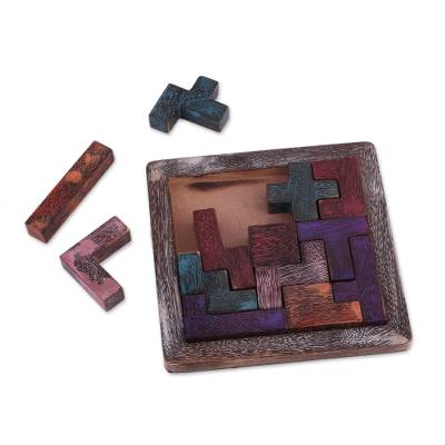 Handcrafted Colorful Wood Puzzle from India