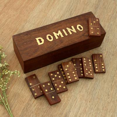 Wood domino set, 'Fun Time' - Handcrafted Wood Domino Set with Brass Inlay from India