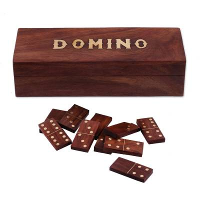 Handcrafted Wood Domino Set with Brass Inlay from India