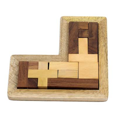 L-Shaped Acacia and Haldu Wood Puzzle from India