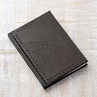 Leather journal, 'Black Butterfly' - Butterfly-Themed Leather Journal in Black from India