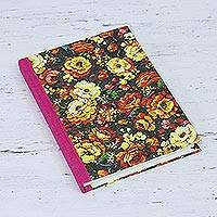 Handmade paper journal, 'Hiding Place' - Printed Floral Hardcover Paper Journal from India