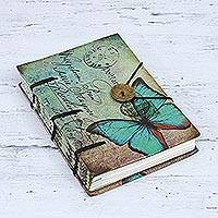 Paper journal, 'Thoughtful Butterfly' - Handmade Hardcover Printed Butterfly Journal from India