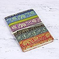 Paper journal, 'Animal Charm' - Hardcover Printed Journal with Colorful Motifs from India